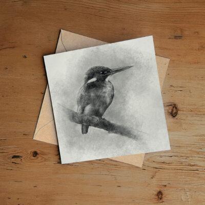 Kingfisher pencil drawing Art Greeting Card